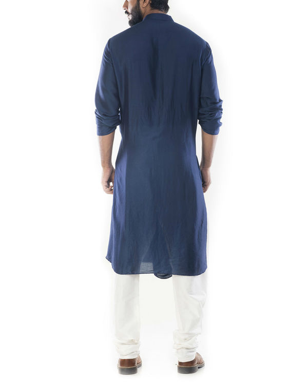 Blue cowl draped kurta with churidar pants 2