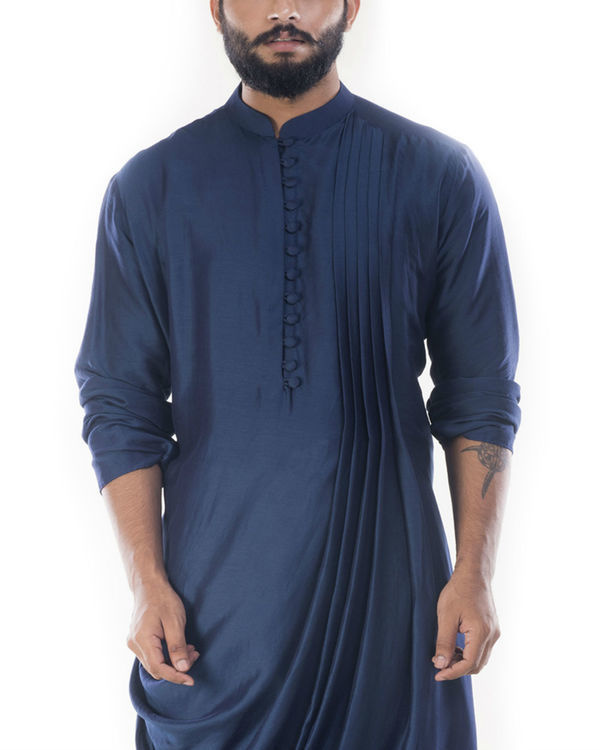 Blue cowl draped kurta with churidar pants 3