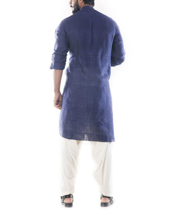 Denim blue pathani suit with salwar pants 1