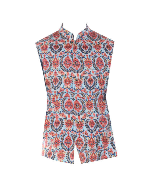 Printed bandhgala waistcoat 3