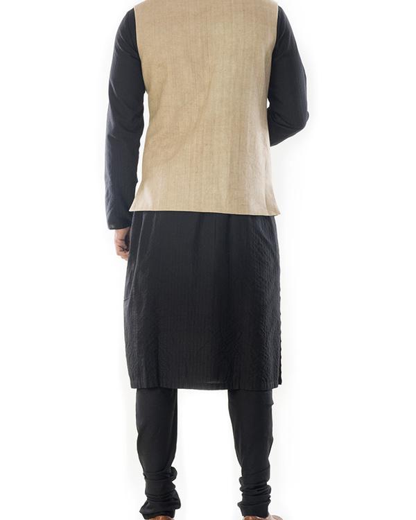 Beige motif embroidered waistcoat 2