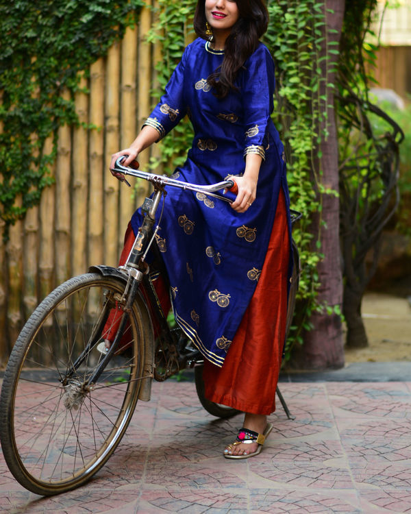 Navy blue cycle kurta set 2