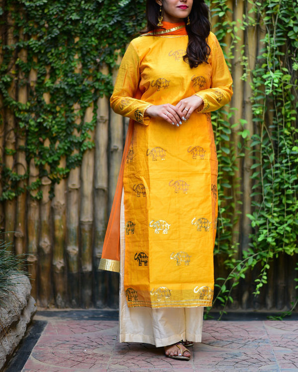 Yellow elephant kurta set with dupatta 1