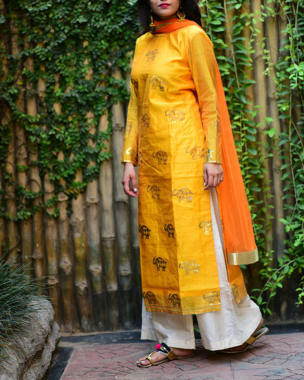 Yellow elephant kurta set with dupatta 2