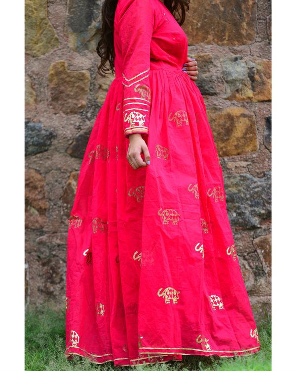 Pink elephant anarkali dress 1