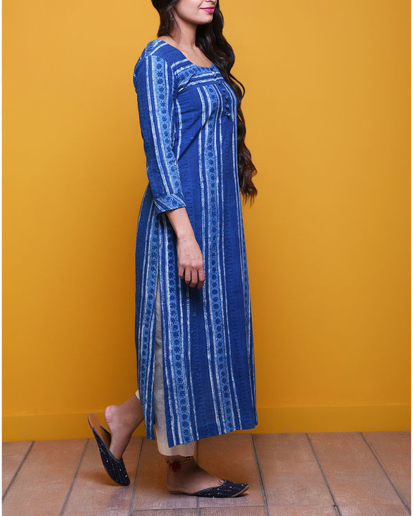 Indigo striped dot kurta 1