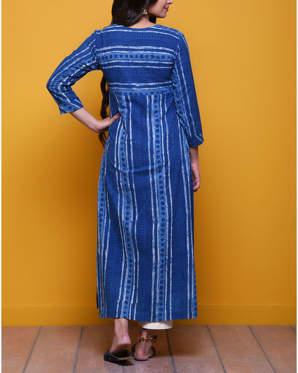 Indigo striped dot kurta 2