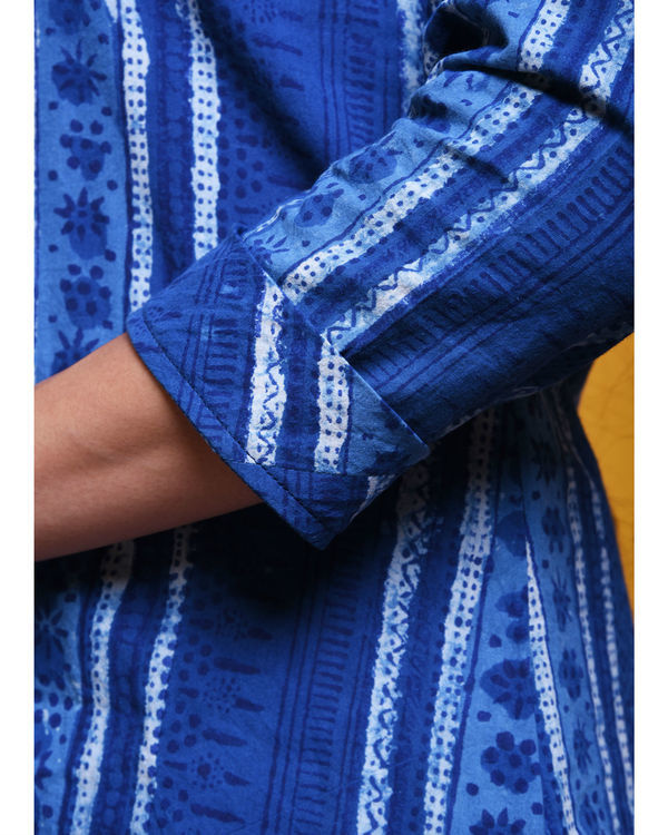 Indigo striped dot kurta 3