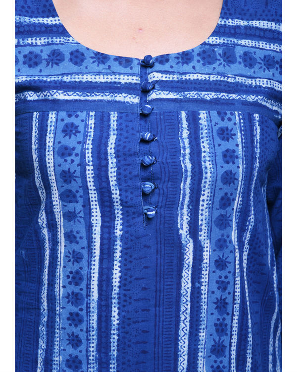 Indigo striped dot kurta 4