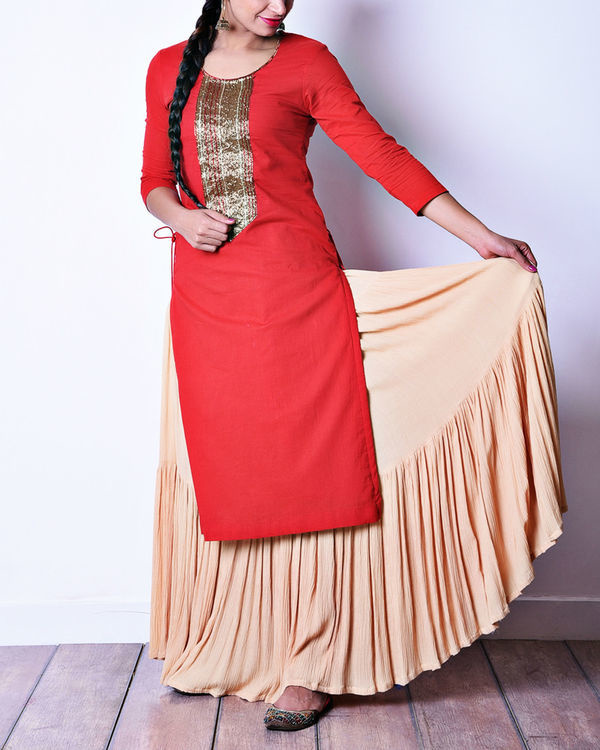 Red beige skirt set 1