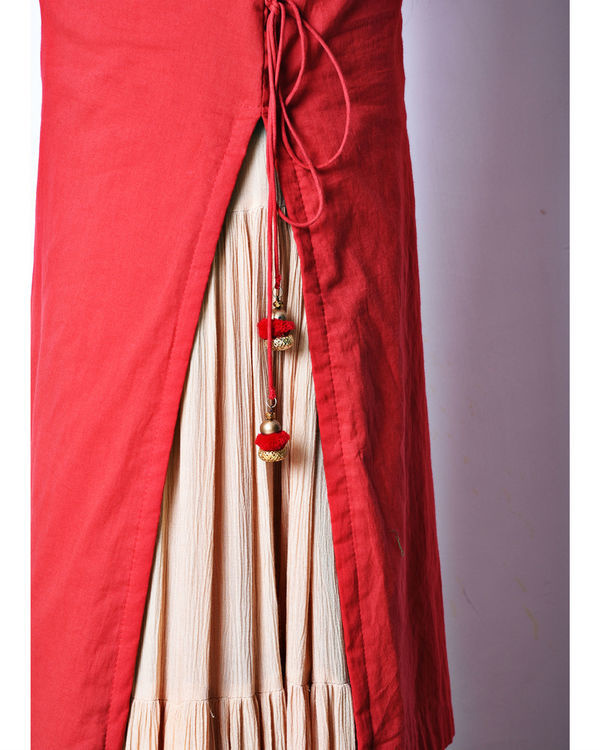 Red beige skirt set 2