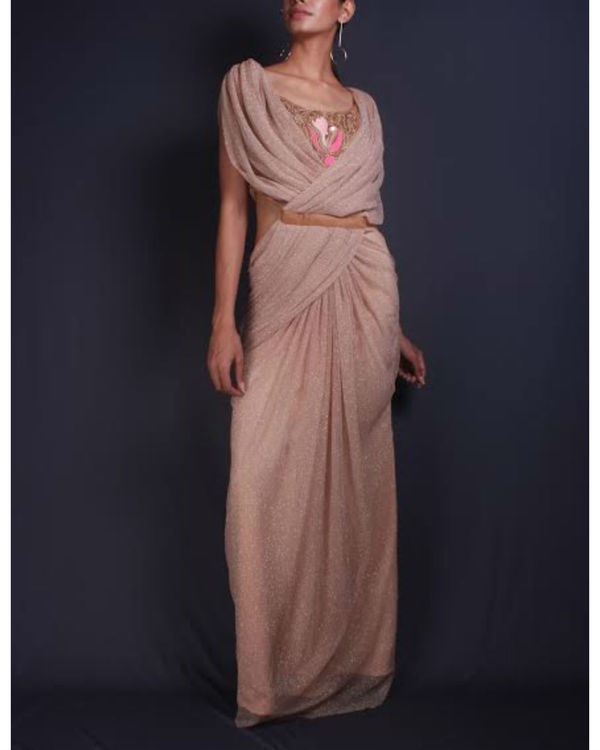 Shimmer draped sari gown 1