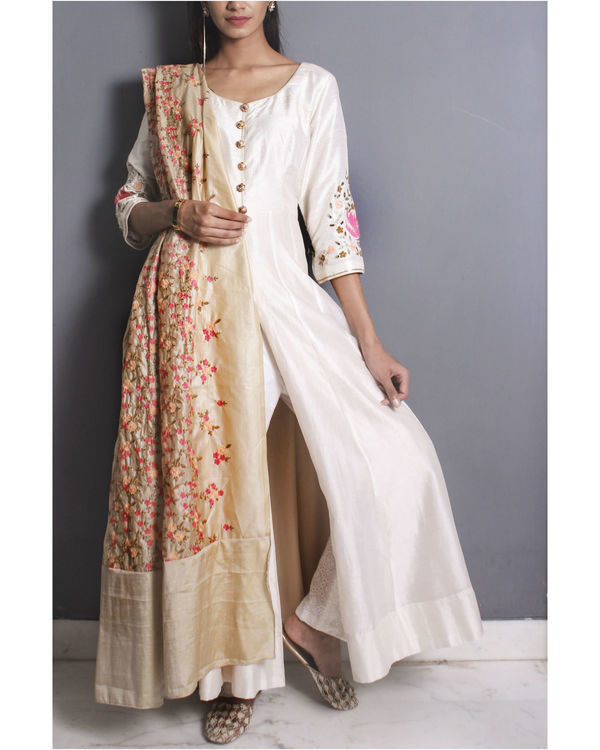 Ivory anarkali set with embroidered dupatta 1