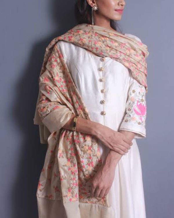 Ivory anarkali set with embroidered dupatta 2