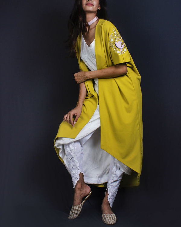 White draped kurta and dhoti pants and lime cape 1