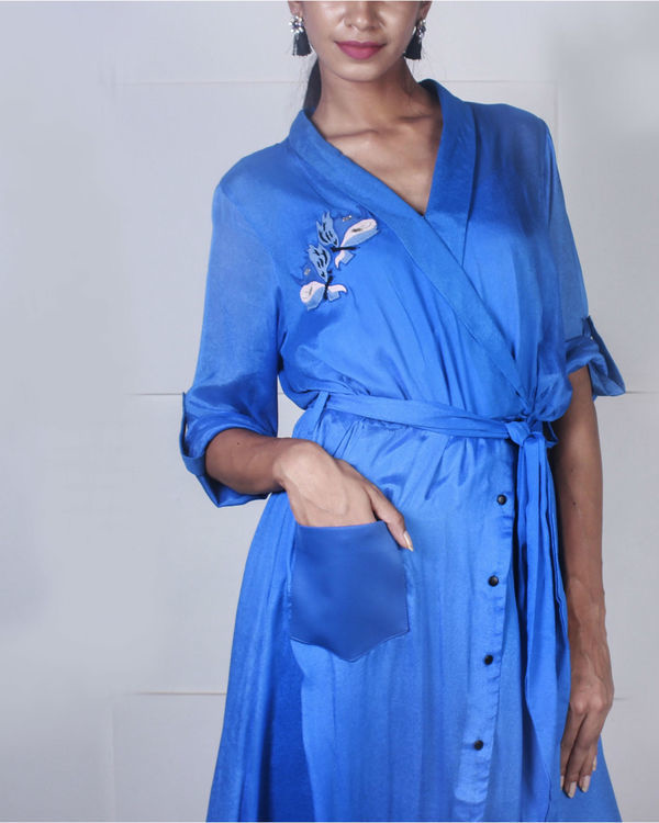 Blue overlap shirt dress 1