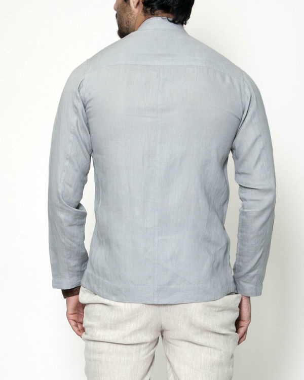 Grey cross zipper linen jacket 1