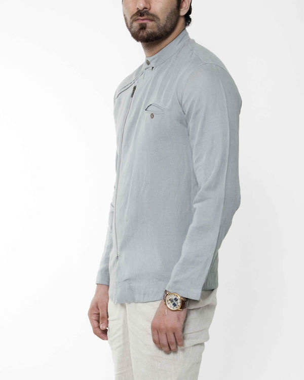 Grey cross zipper linen jacket 2
