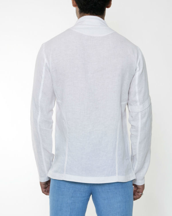 White linen invisible zipper jacket 1