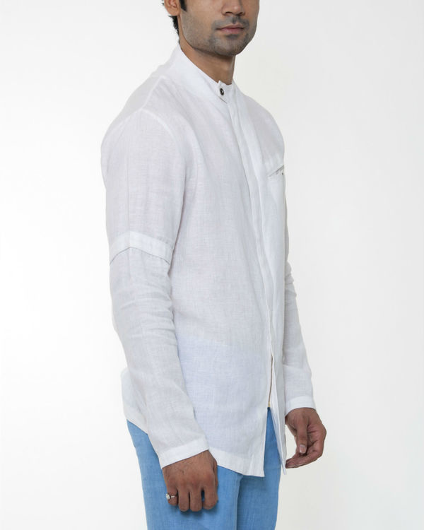 White linen invisible zipper jacket 2