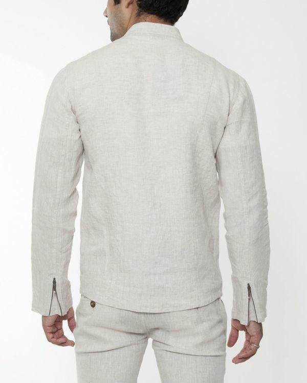 Beige linen asymmetric jacket 1