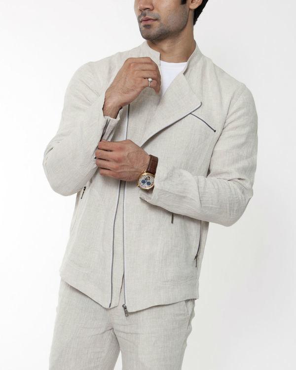 Beige linen asymmetric jacket 2