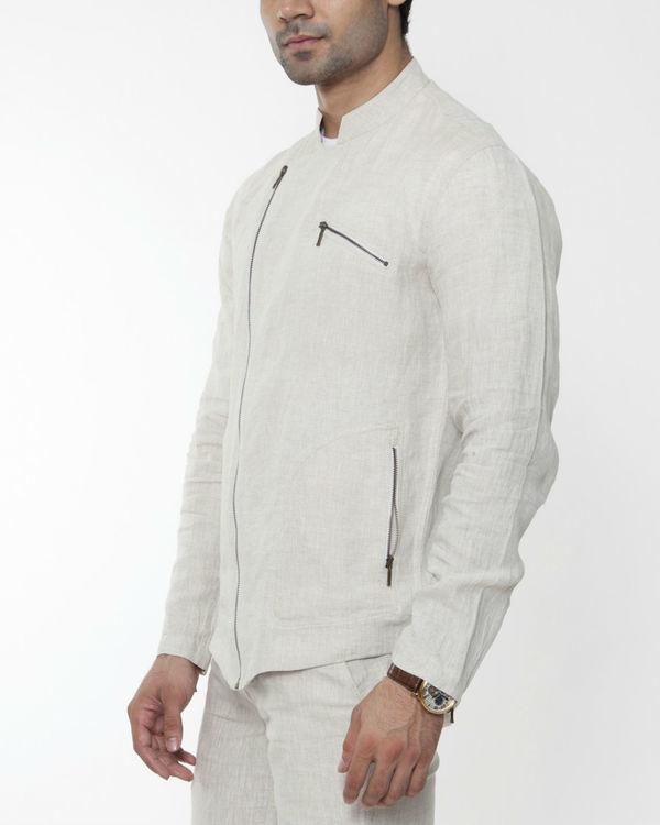 Beige linen asymmetric jacket 3
