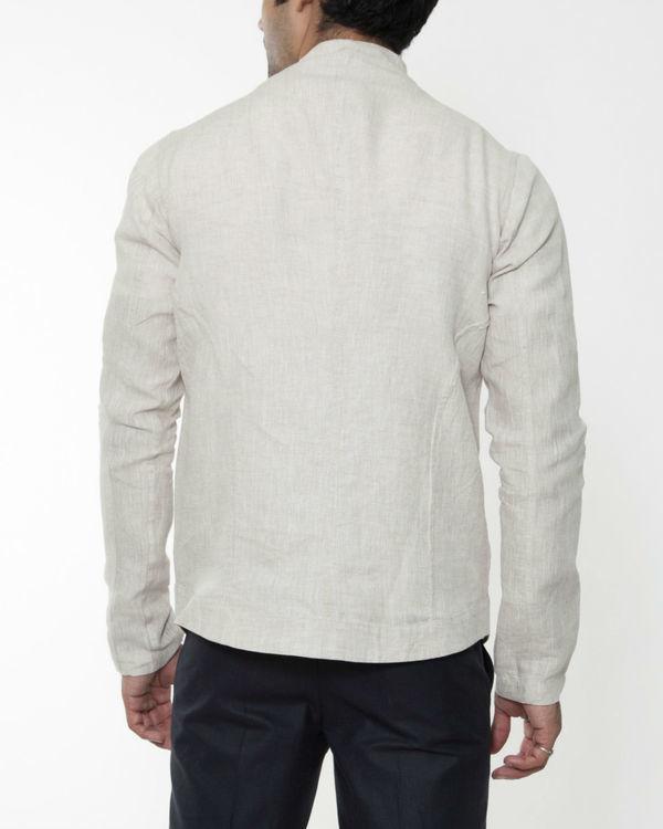Beige linen extended collar jacket 1