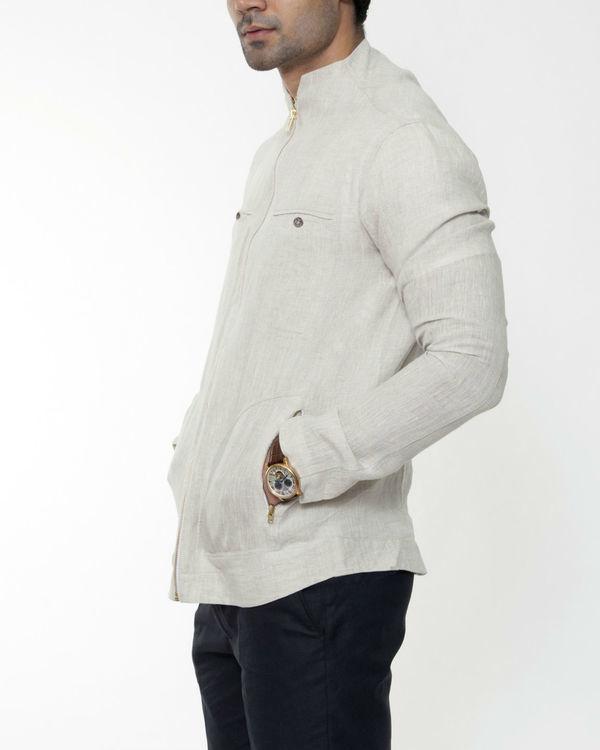 Beige linen extended collar jacket 2