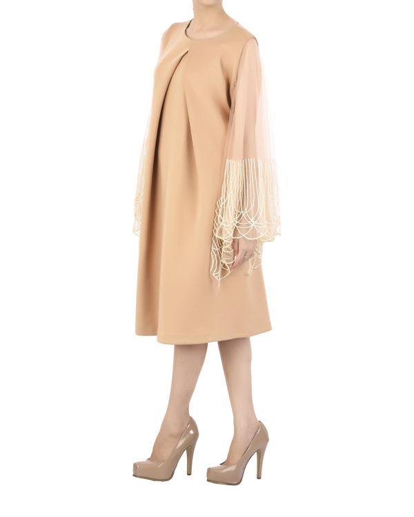 Nude neoprene dress with flared pearl sleeve 1