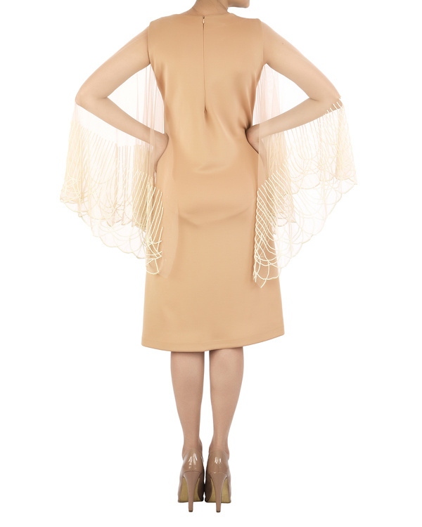 Nude neoprene dress with flared pearl sleeve 2