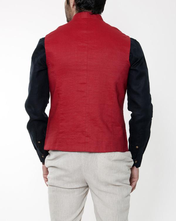 Red linen nehru jacket 1