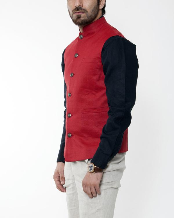 Red linen nehru jacket 2