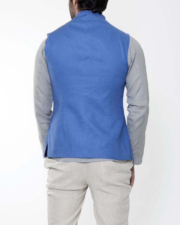 Blue linen extended collar bandi 1