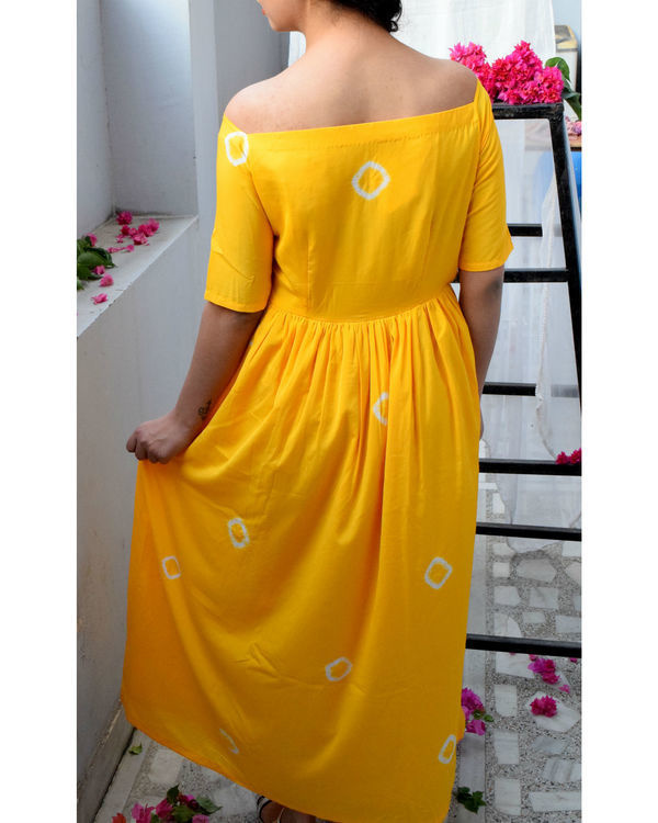 Yellow off shoulder dress 1