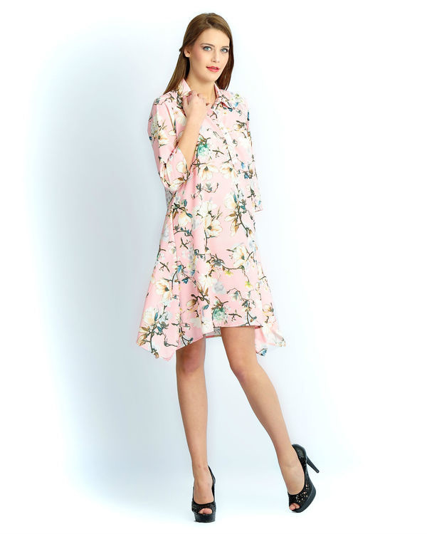 Light pink floral a line tunic 1