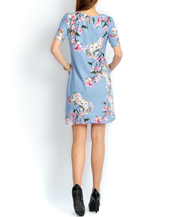 Blue floral pleated dress 1