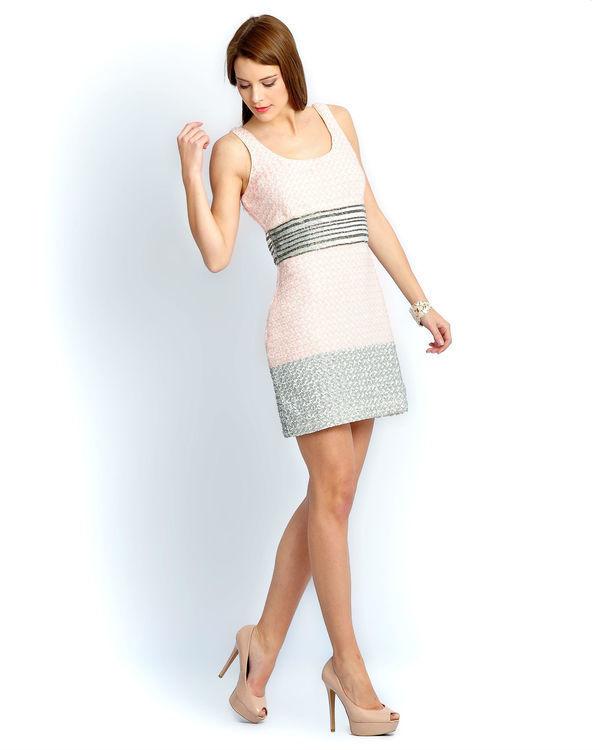 Ivory pink beaded dress 1