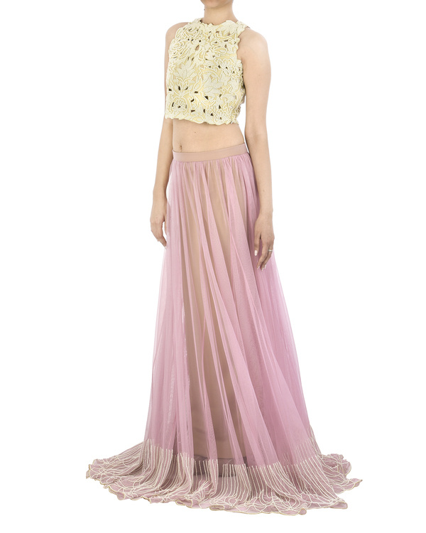 Lilac lehenga skirt with pearl embroidered border 1