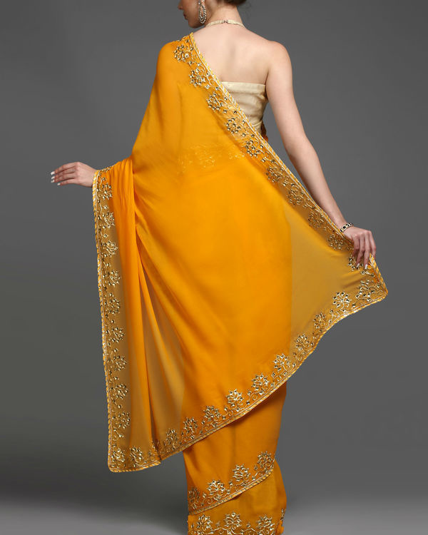 Saffron and gold sari 1