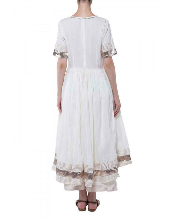 White gota work anarkali set 1
