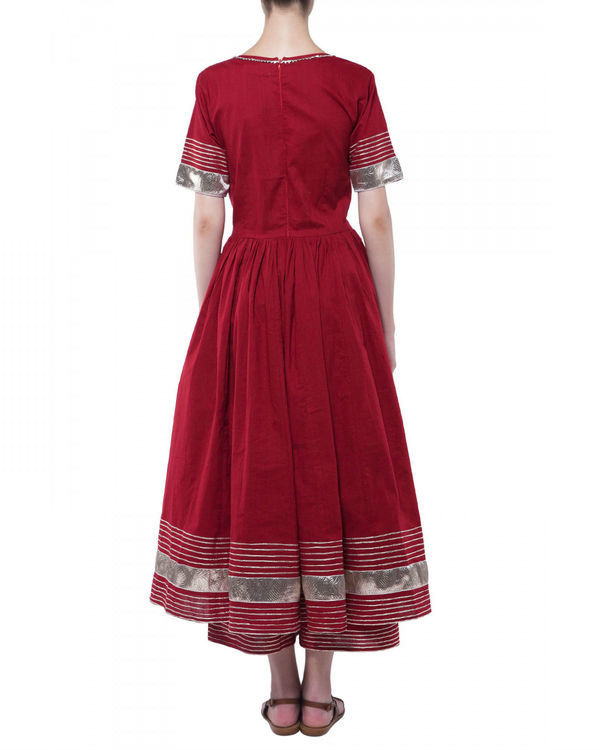 Maroon gota work anarkali set 1