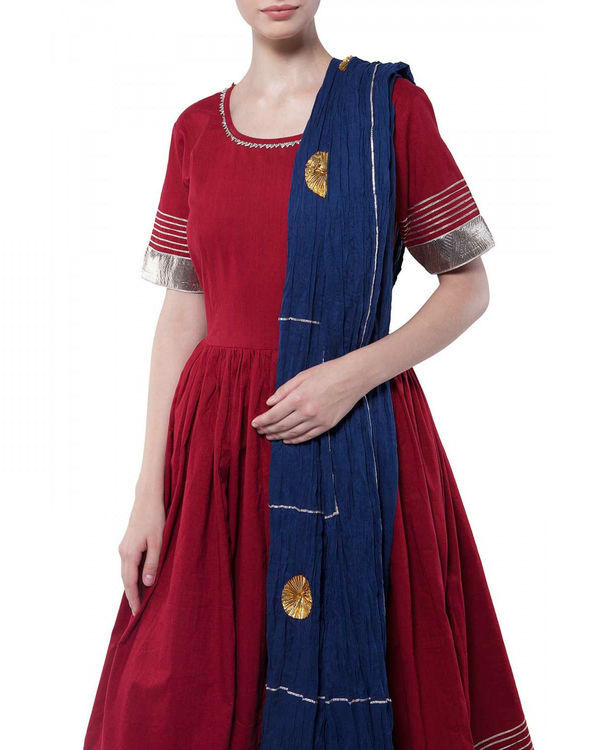 Maroon gota work anarkali set 2