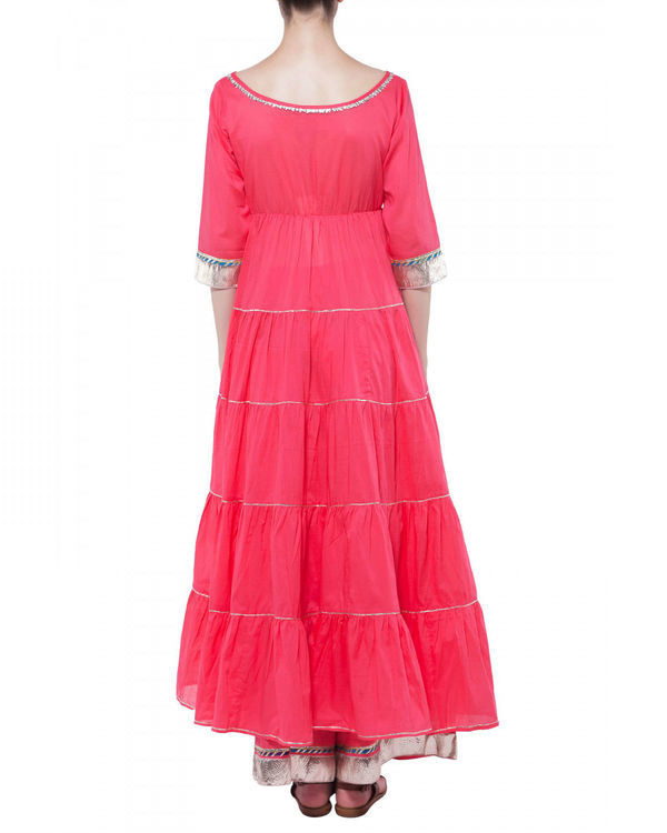 Coral gota work anarkali set 1