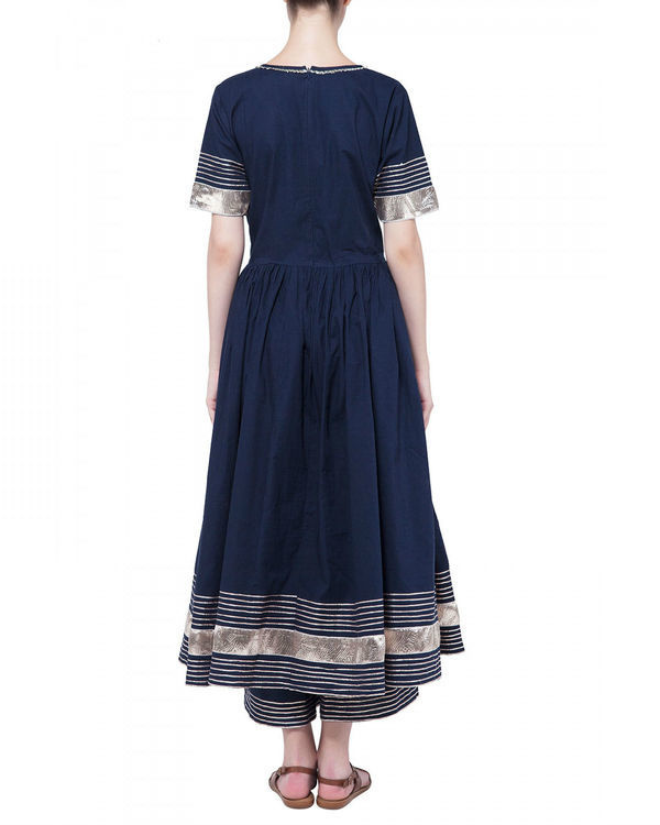 Navy blue gota work anarkali set 1