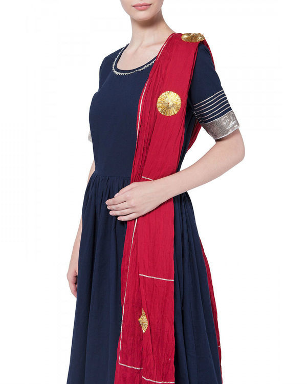 Navy blue gota work anarkali set 2