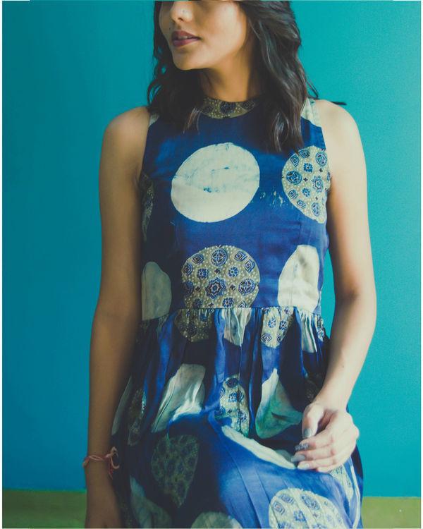 Blue circle ajrakh dress 1