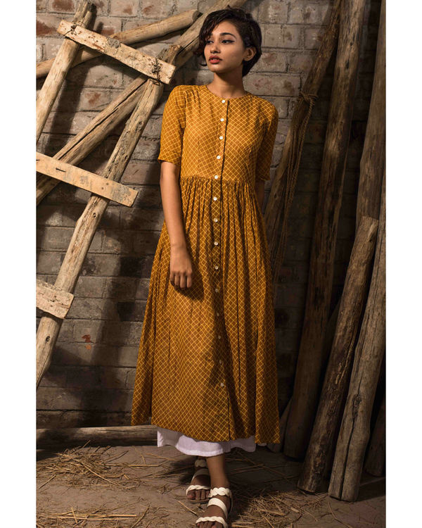 Mustard pleated tunic 2