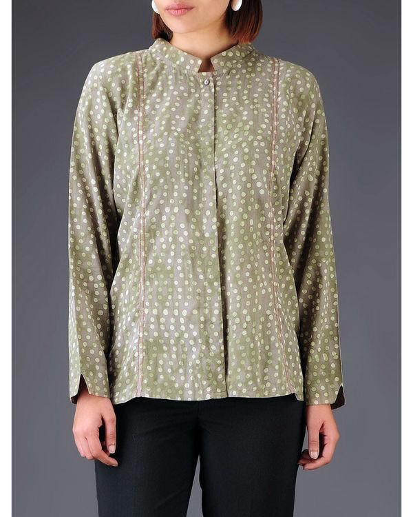 Olive panelled shirt 1