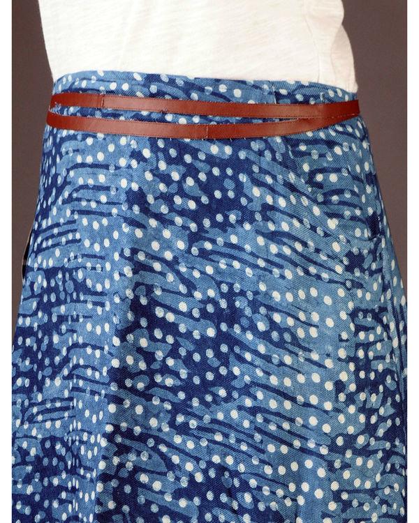 Indigo wrap skirt with pockets 3